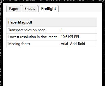 Preflight tab displays information regarding transparencies, resolution, missing fonts