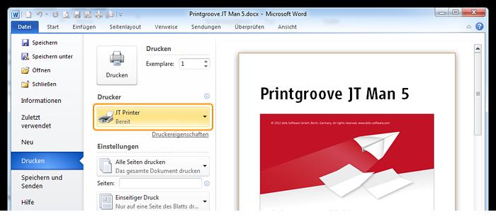 Screenshot: Mit JT Printer Druckauftrag aus MS Word versenden