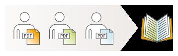 Illustration: Mehrere Autoren arbeiten an einem Projekt