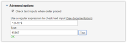 Screenshot of the configuration for validating the account field