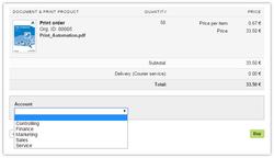 Screenshot: Auswahl der Kostenstelle bei der Bestellung