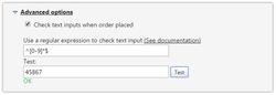 Screenshot der Konfiguration zur Validierung des Kostenstellenfeldes