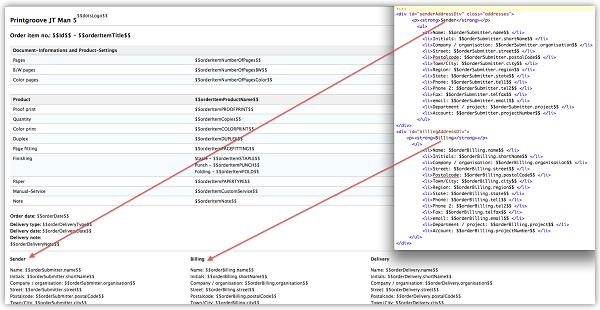 Bild zeigt angepasstes Jobticket in Printgroove JT Man 5