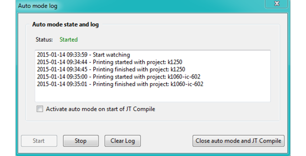 Automatic mode: Log window informs about current status