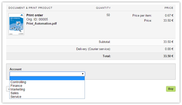Screenshot: Selection of account during ordering