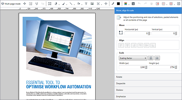 Editing scanned documents by using the JT Raster Editor
