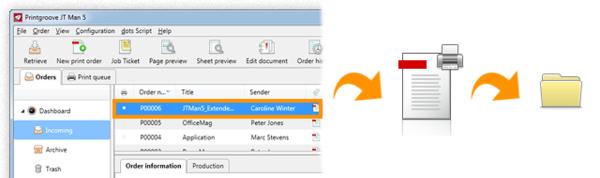 Druckaufträge werden nach dem Drucken automatisch in einen vordefinierten Ordner verschoben