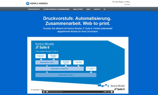 Produktwebsite für Konica Minolta JT Suite 6