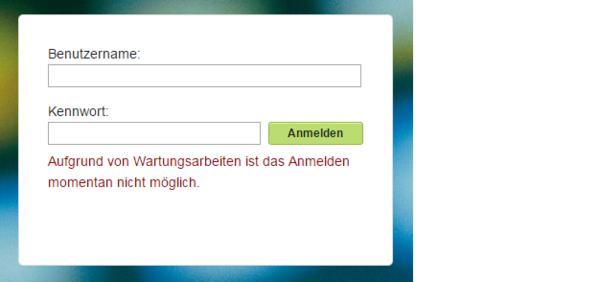 Screenshot der Loginseite: Nutzer kann sich nicht anmelden