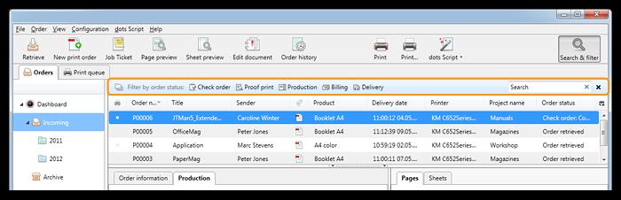 Capture d'écran: Barre d'outils de recherche et de filtre