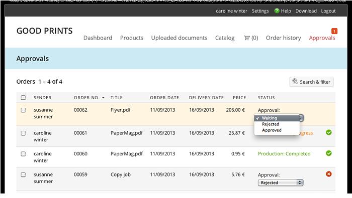 Capture d'écran: L'utilisateur plus peut approuver des commandes