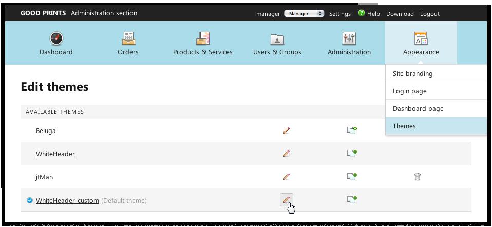 Capture d'écran : Modification des thèmes
