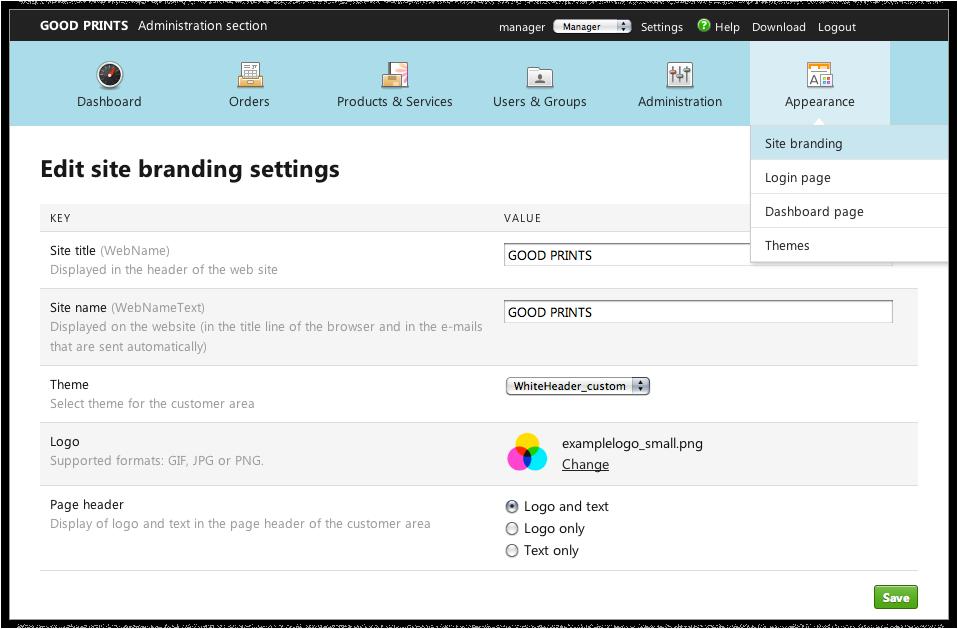 Capture d'écran : Paramètres Site Branding