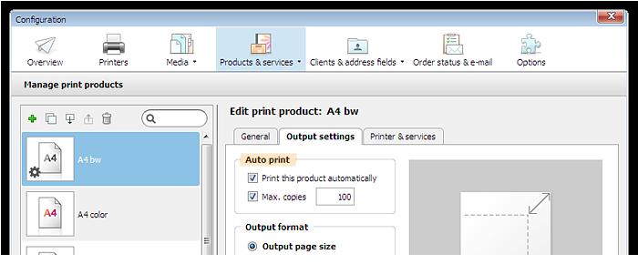 Capture d'écran: Sélection de l'impression automatique dans la configuration de produit
