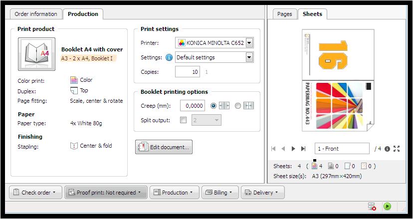 Screenshot: Auftrag mit Ausschießschema Booklet