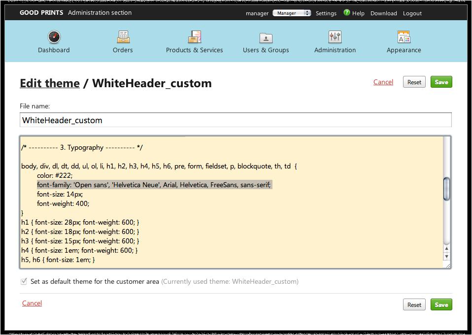 Screenshot: Bearbeitung der CSS-Dateien der Themes