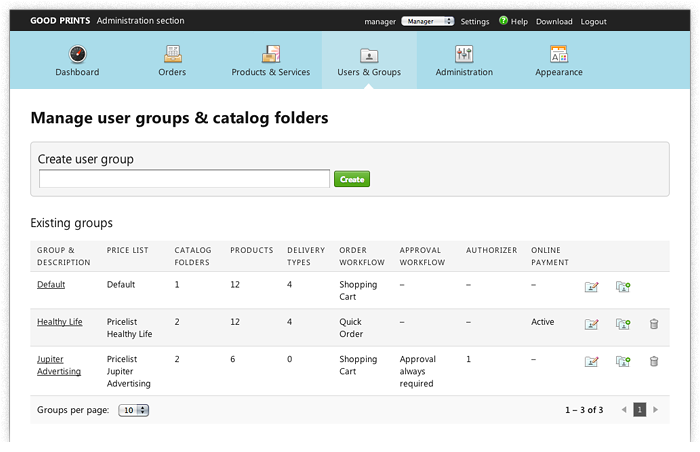 Screenshot: Group configuration