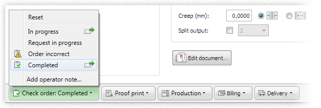 Screenshot: Print operator sets order status
