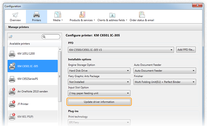 Screenshot: Printer configuration