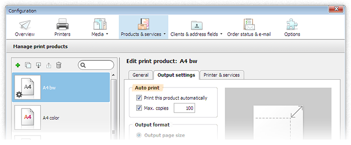 Screenshot: Select auto print in product configuration