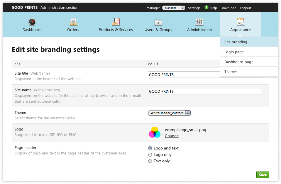 Screenshot: Site branding settings