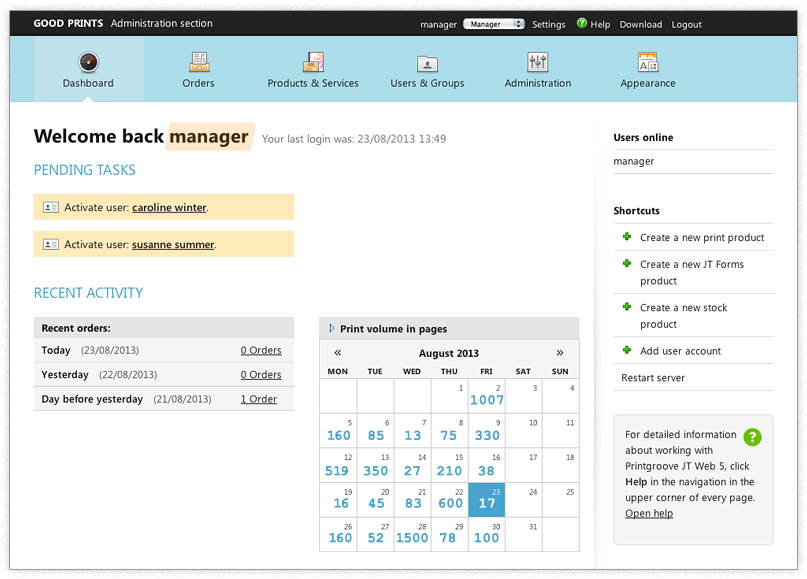 Screenshot: Dashboard of Manager