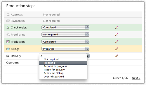 Screenshot: Print operator sets current status in the backend