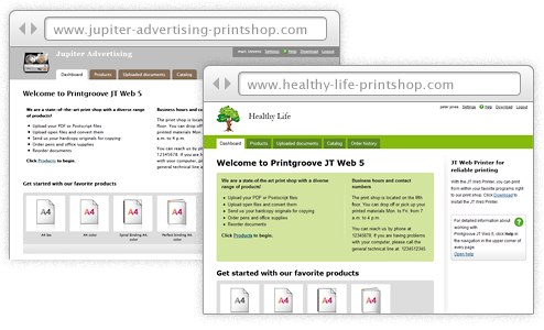 Screenshots: Two different designed online shops for different user groups